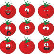 Emotion cartoon red tomato vegetables set  — Stock Photo