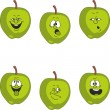 Emotion cartoon green apple set — Stock Photo