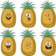 Emotion cartoon pineapple set — Photo