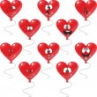 Stock Photo: Emotion red hearts balloon set