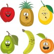 Emotion cartoon fruits set  — Stock Photo