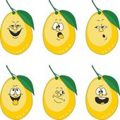 Emotion cartoon yellow lemon set — Stock Photo