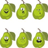 Emotion cartoon green pear set — Stock Photo