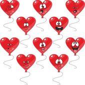 эмоции красные сердца шар набор — Стоковое фото