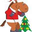 Cartoon horse with a Christmas tree — Stock Vector