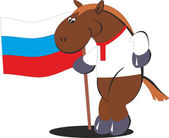 Cartoon horse with the flag of Russia — Stock Vector
