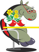 Cartoon horse is sitting on a chair with flowers — Stock Vector