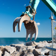 Stock Photo: Rock grab for excavators closeup