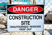 """Danger, construction site"" sign — Stock Photo"