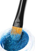 Makeup brushes and powder — Stock Photo