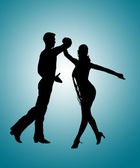 Couple Dancing Rumba Silhouette — Stock Photo