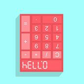 Calculator display with HELLO — Stock Vector