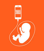 Baby and phone — Stock Vector