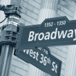 Broadway and West 36th Street sign — Stock Photo #17126441