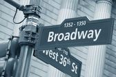 Broadway and West 36th Street sign — Stockfoto