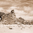 Ruins of ancient fortress Massada. Sepia — Stock Photo