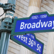 Broadway and West 36th Street sign — Stock Photo