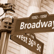 Broadway and West 36th Street sign — Foto Stock