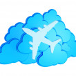 Stock Photo: 3d clouds with silhouette of jet airliner icon isolated on white