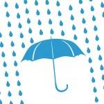 Blue umbrella and rain drops — Stock Photo #12793425