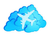 3d clouds with silhouette of jet airliner icon isolated on white — Stock Photo