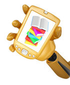 Robotic hand hold a mobile phone with stack of multicolored book — Stock Photo