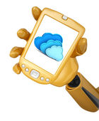 Robotic hand hold a mobile phone with 3d cloud computing icon — Stock Photo