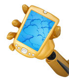 Robotic hand hold a mobile phone with 3d cloud computing icon ba — Stock Photo