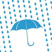 Gocce di pioggia e ombrello blu — Foto Stock