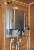 Gas boiler under repair — Stock Photo