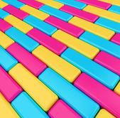 Arka plan kaldırım parlak renkli kutular — Stok fotoğraf