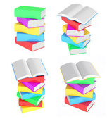 Set images of stacks of multicolored books with open books — Stock Photo