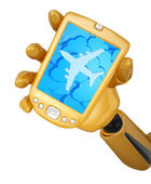 Robotic hand hold a mobile phone with clouds and silhouette of j — Stock Photo