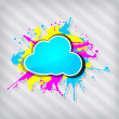 Cute transparency grunge cloud frame on a stripped background — Stock Vector