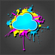 Cute  grunge cloud computing icon on the metallic background - Stock Vector