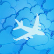 Stock Photo: 3d clouds with silhouette of jet airliner icon