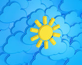 Sun on a cloudy Background / weather forecast — 图库照片