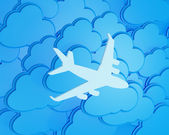 3d clouds with silhouette of jet airliner icon — Stock Photo