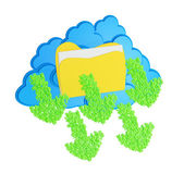 Blue clouds with folder and Green download arrows made from numb — Stock Photo