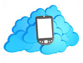 3d mobile phone with cloud computing background — Stock Photo