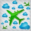 图库矢量图片: Transparency Four-engine jet airliners in air with blue cloud