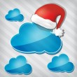Transparency blue clouds with santa claus hat on a stripped back — Stock Vector