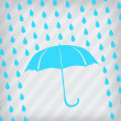 Royalty-Free Stock Vector Image: Blue umbrella and rain drops on the stripped background