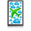 Stock Vector: Mobile phone with airplane in the air with blue clouds