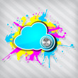 Cute grunge cloud computing icon frame with knob on a stripped b — Stockvectorbeeld