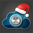 Stock Vector: Chrome volume knob on transparency cloud with santa claus hat on