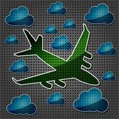 Transparencia cuatro motores avión en el aire con nube azul — Vector de stock