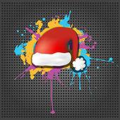 Cute grunge Red Santa Claus Hat on the metallic background — Stok Vektör