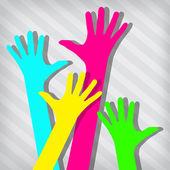 Glad händer på avskalade bakgrund — Stockvektor