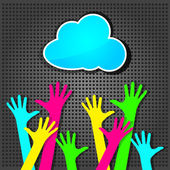 Happy colorful hands with blue cloud on the metallic background — Stock Vector